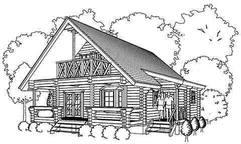 屋根を張り出して玄関ホールをつくったログハウス