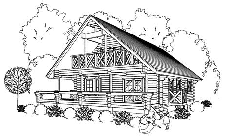 南側に屋根のかかるデッキを設置したログハウス